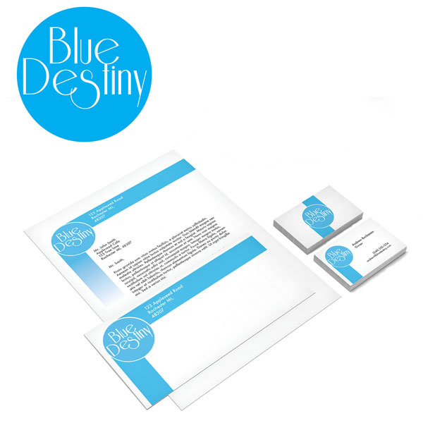 Blue Desitiny Business Logo and Stationary with Business Card Design